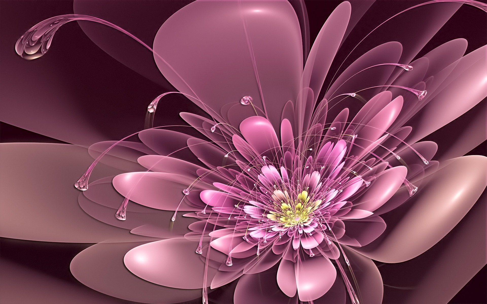 pink wallpapers Art-Flowers-Tendrils