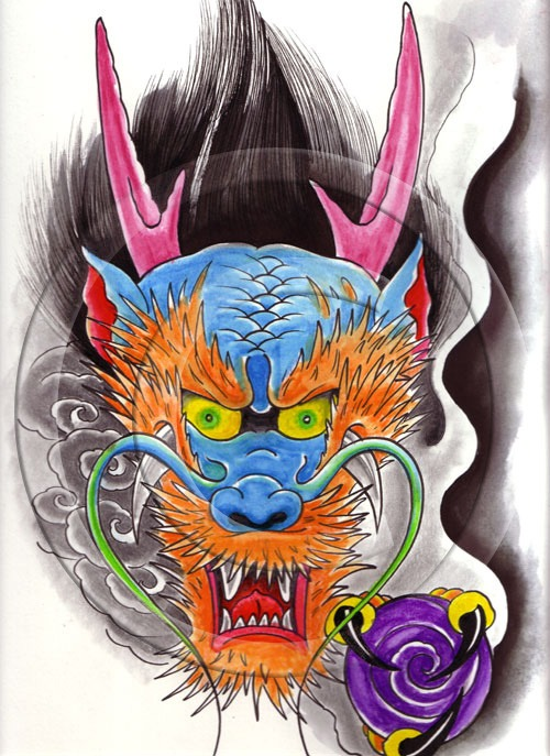 Dragon Face Tattoo