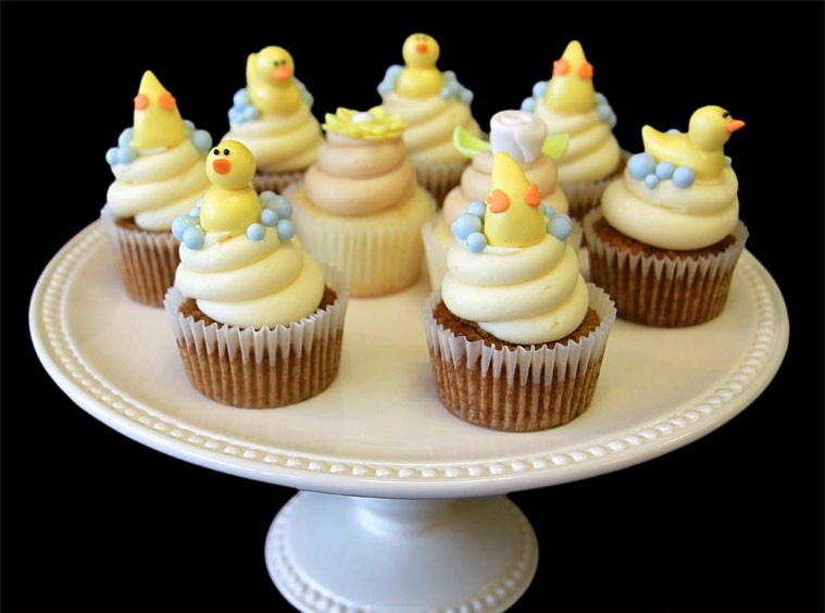 Duckies baby shower cupcakes