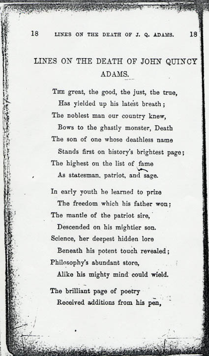 john quincy adams death poems