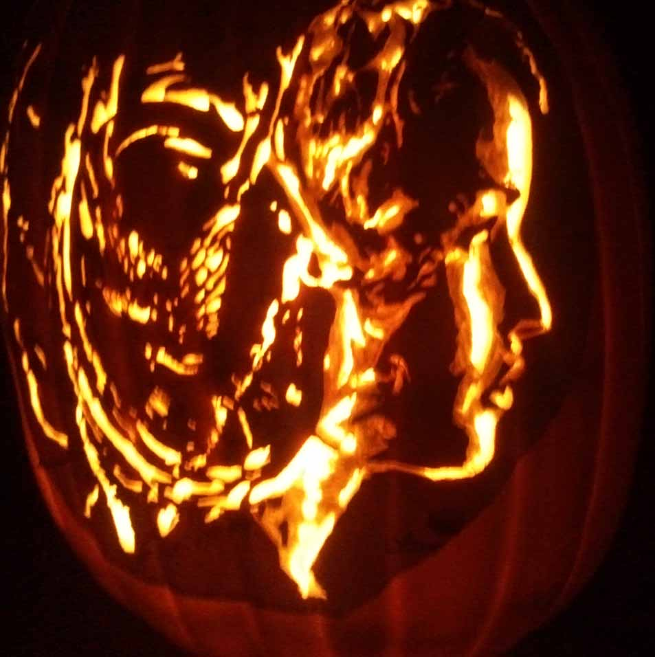Woman Pumpkin Carving