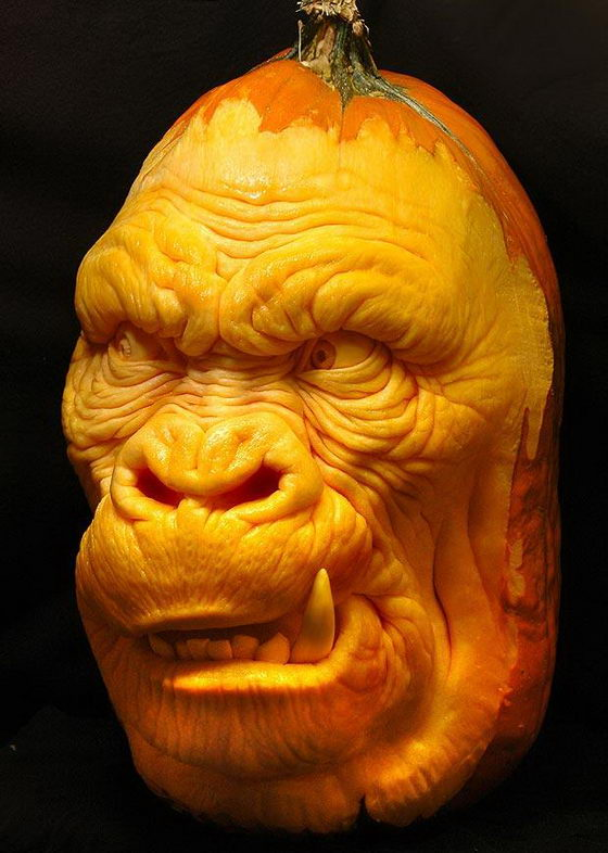 gorilla pumpkin carving design