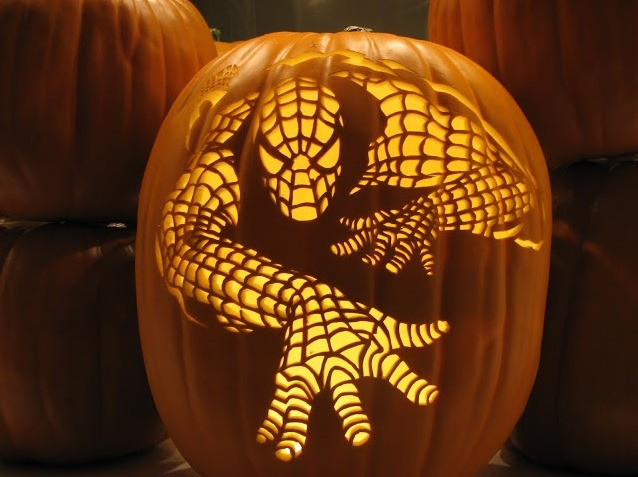 spiderman pumpkin carving design