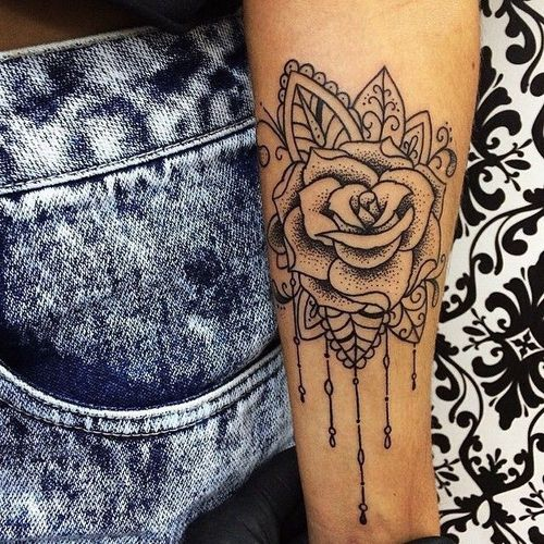 Rose arm tattoos for girls