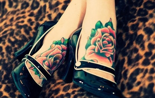 Coloured Foot Tattoo