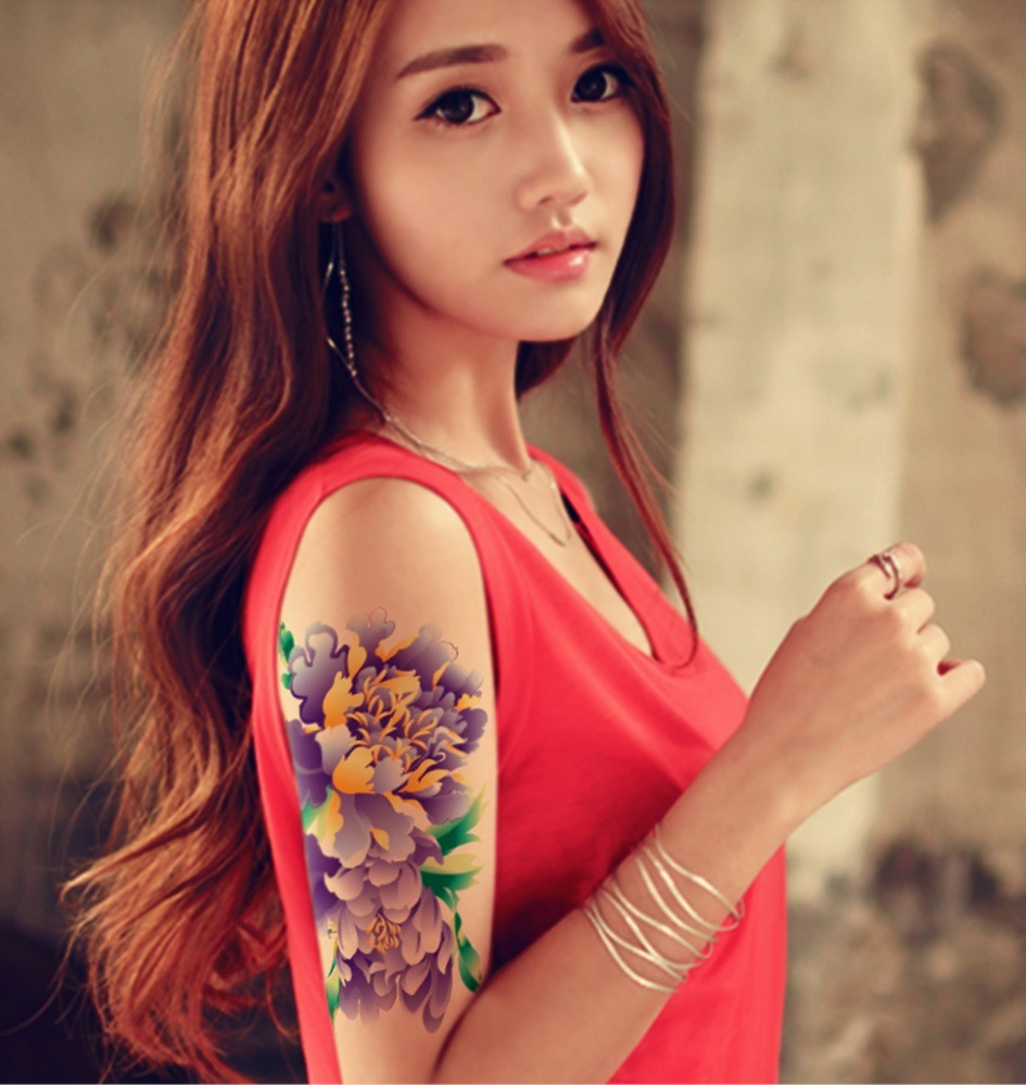 purple arm tattoos for girls