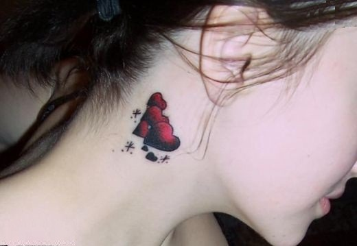 Heart Neck tattoos for girls