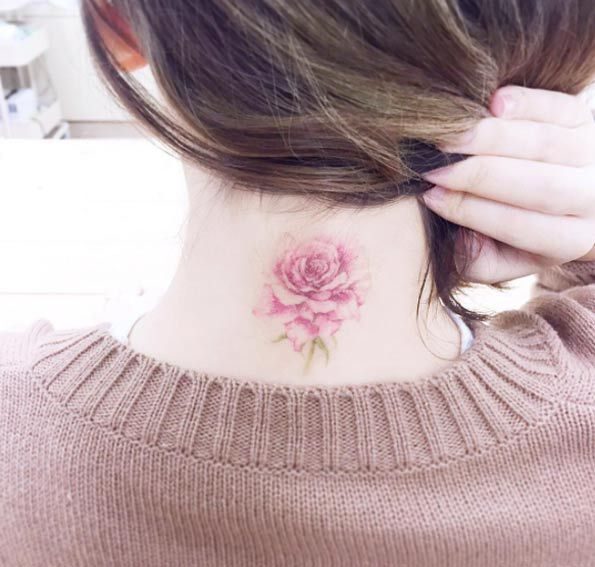 Pink rose Neck tattoos for girls