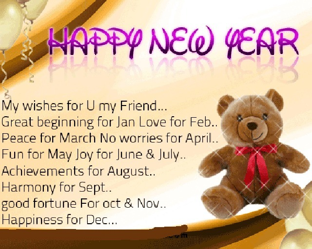 new year wish bear card