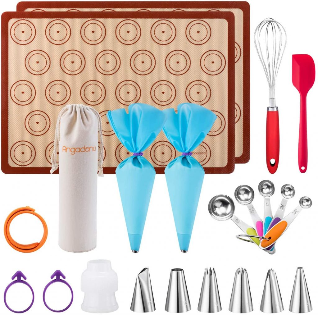 Macaron Kit Silicone Baking Mat set, Macaroon Piping Bag and Piping Tip