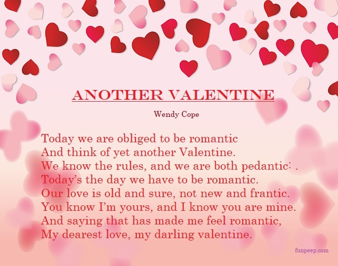 Another Valentine - Wendy Cope Love Poems