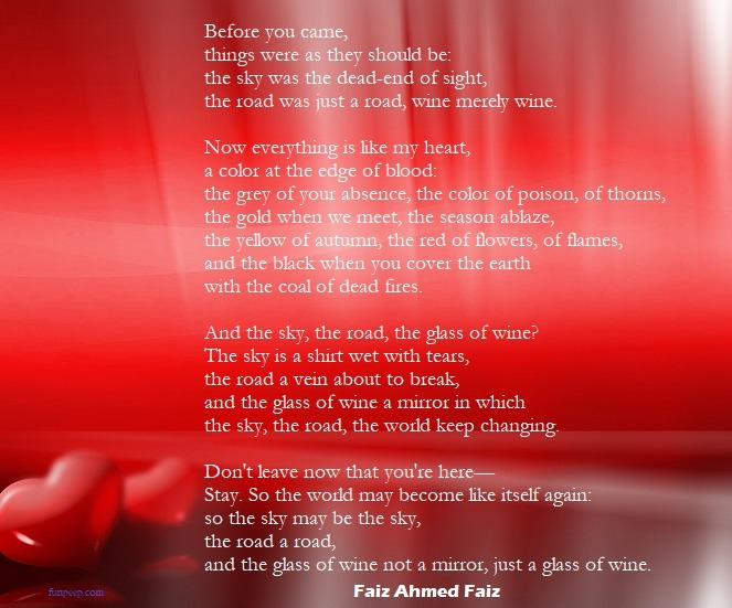 Before You Came - Faiz Ahmed Faiz Love Poem