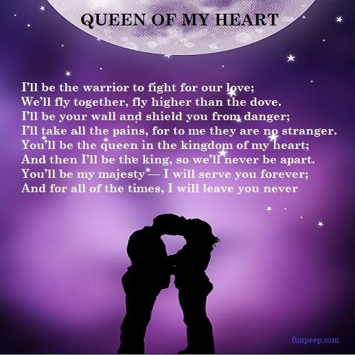 Queen of my heart - romantic poem for wife