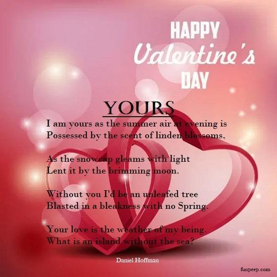 Yours by Daniel Hoffman Love Poem